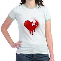 Emo Skull Heart Jr. Ringer T-Shirt
