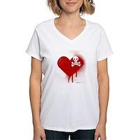 Emo Skull Heart Women's V-Neck T-Shirt