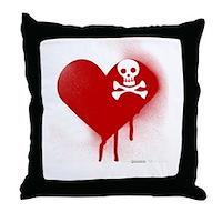 Emo Skull Heart Throw Pillow