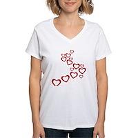 Falling Hearts Women's V-Neck T-Shirt