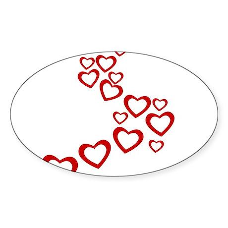 Falling Hearts Sticker (Oval)