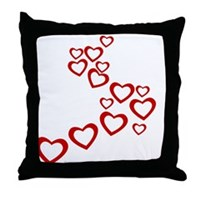 Falling Hearts Throw Pillow