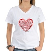 Heart Circles Women's V-Neck T-Shirt