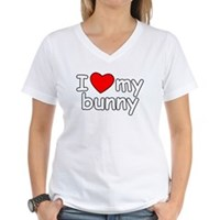 I Love My Bunny Women's V-Neck T-Shirt