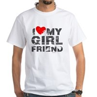 Vintage I Love My Girlfriend White T-Shirt