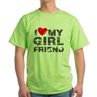 Vintage I Love My Girlfriend Green T-Shirt