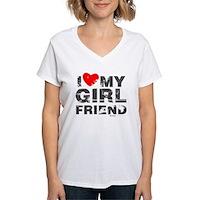 Vintage I Love My Girlfriend Women's V-Neck T-Shir