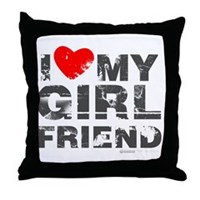 Vintage I Love My Girlfriend Throw Pillow