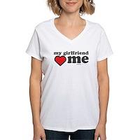 My Girlfriend Loves Me Women's V-Neck T-Shirt