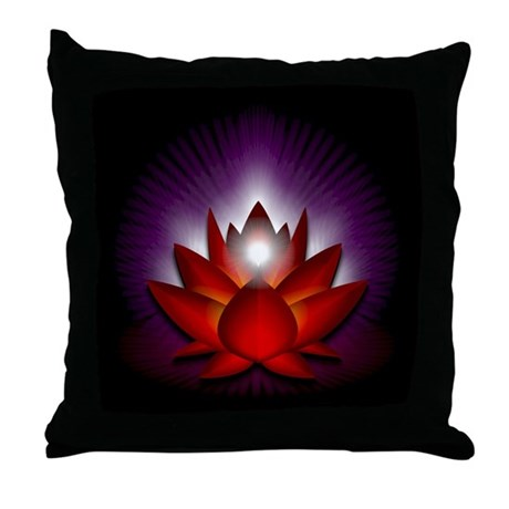 "Red ""Root"" Chakra Lotus Throw Pillow"