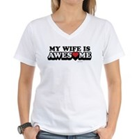My Wife Is Awesome Women's V-Neck T-Shirt
