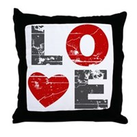 Vintage Love Heart Throw Pillow
