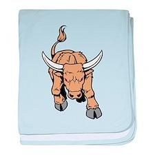 Horned Bull baby blanket