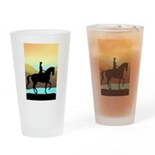 Dressage By The Sea Drinking Glass