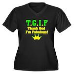 TGIF Thank God I'm Fabulous Women's Plus Size V-Ne