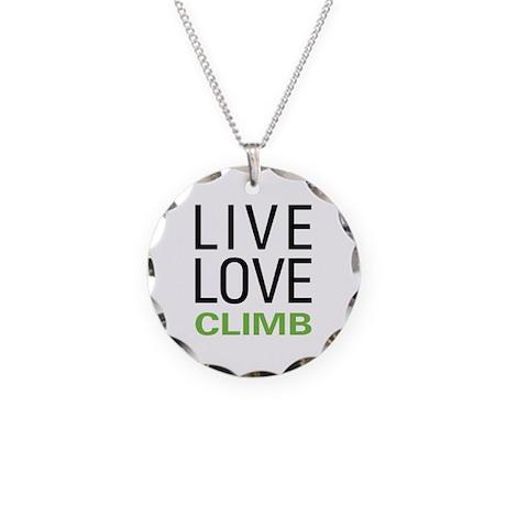 Live Love Climb Necklace Circle Charm
