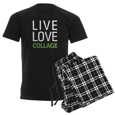 Live Love Collage Men's Dark Pajamas
