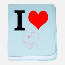 I Heart Pigs baby blanket