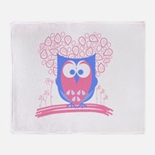 Cute Whimsical Owl (Pastel Pink) Throw Blanket