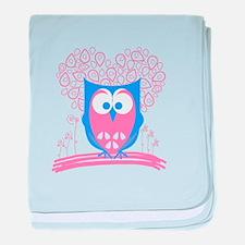 Cute Whimsical Owl (Pastel Pink) baby blanket