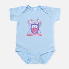 Cute Whimsical Owl (Pastel Pink) Infant Bodysuit