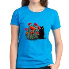 Black Cat with Poppies Tee
