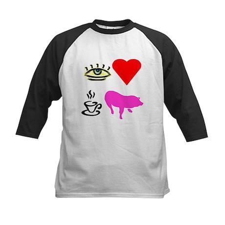 I Heart Teacup Pigs Kids Baseball Jersey