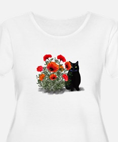 Black Cat with Poppies T-Shirt