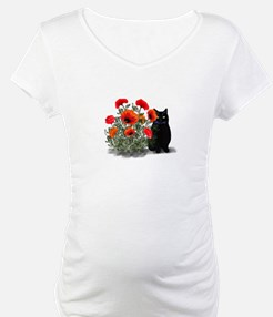 Black Cat with Poppies Shirt