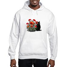 Black Cat with Poppies Hoodie