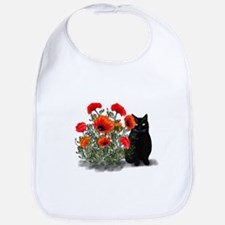 Black Cat with Poppies Bib