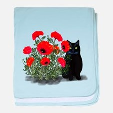 Black Cat with Poppies baby blanket