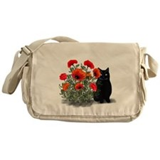 Black Cat with Poppies Messenger Bag