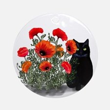 Black Cat with Poppies Ornament (Round)