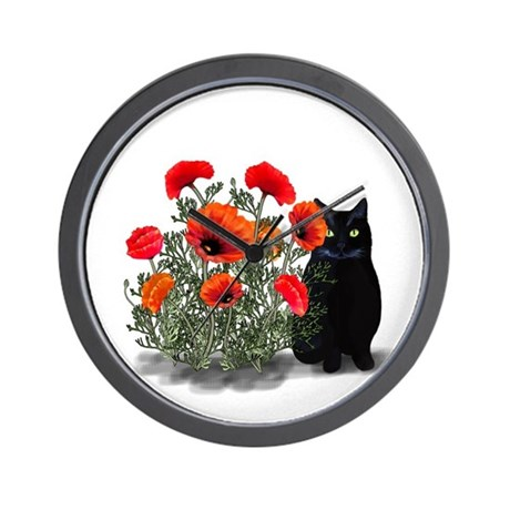 Black Cat with Poppies Wall Clock