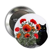 """Black Cat with Poppies 2.25"""" Button (10 pack)"""