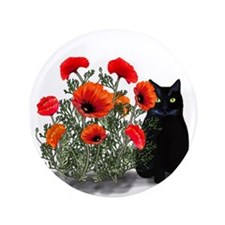 "Black Cat with Poppies 3.5"" Button (100 pack)"