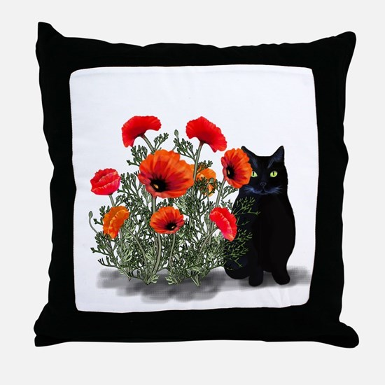 Black Cat with Poppies Throw Pillow