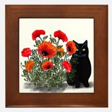 Black Cat with Poppies Framed Tile