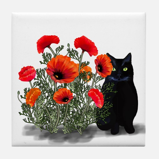 Black Cat with Poppies Tile Coaster