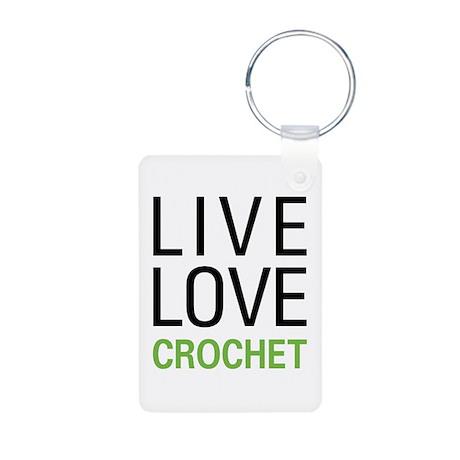 Live Love Crochet Aluminum Photo Keychain