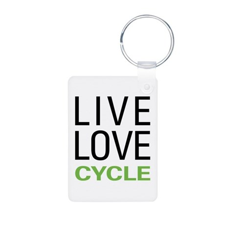 Live Love Cycle Aluminum Photo Keychain