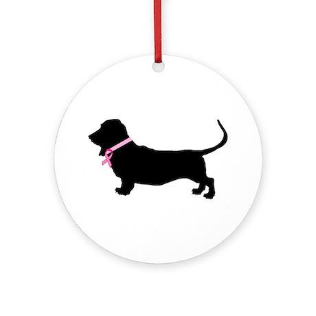 Basset Hound Breast Cancer Support Ornament (Round