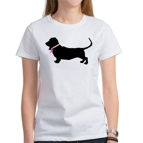 Basset Hound Breast Cancer Support Women's T-Shirt