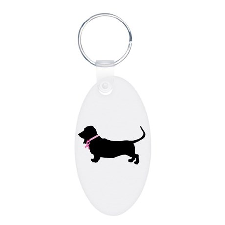 Basset Hound Breast Cancer Support Aluminum Oval K