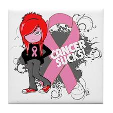 Breast CANCER SUCKS Tile Coaster