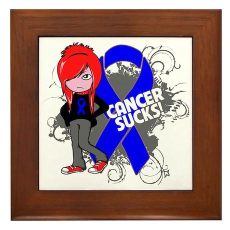 Anal CANCER SUCKS Framed Tile