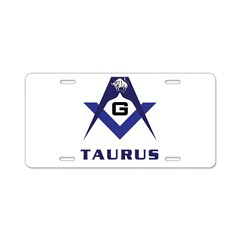 Masonic Taurus Sign Aluminum License Plate