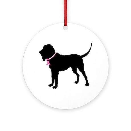 Bloodhound Breast Cancer Support Ornament (Round)
