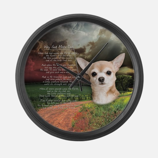 """Why God Made Dogs"" Chihuahua Large Wall Clock"